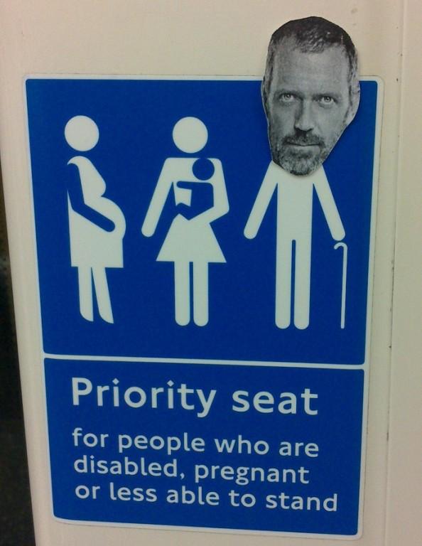 Hugh Laurie's priority seat